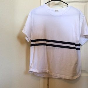 Brandy Melville white with navy stripes T-shirt